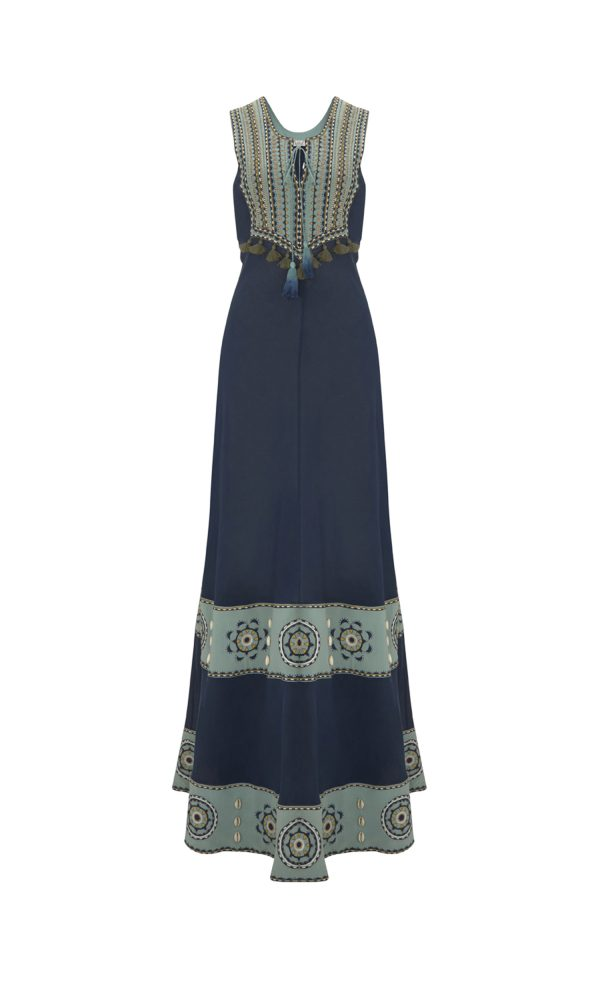 Talitha Pre-Fall 2017 Massai Embroidered Pinafore Dress maxi boho luxury fashion