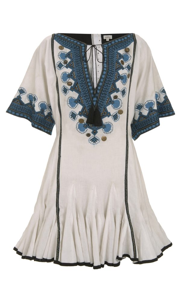 Talitha Pre-Fall 2017 Button Embroidered Alai Dress embroidered peasant boho luxury