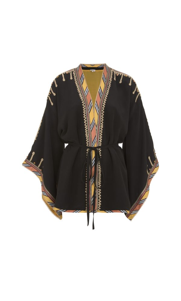 Talitha Pre-Fall 2017 African Tribal Embroidered Kimono silk boho luxury designer