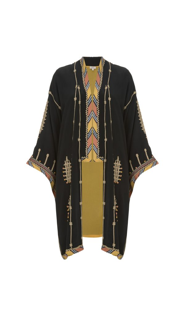 Talitha Pre-Fall 2017 African Tribal Embroidered Kimono silk luxury boho wrap long designer