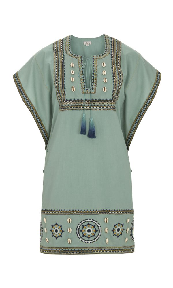 Talitha Pre-Fall 2017 Massai Embroidered Box Tunic in Mint boho peasant top tassels luxury