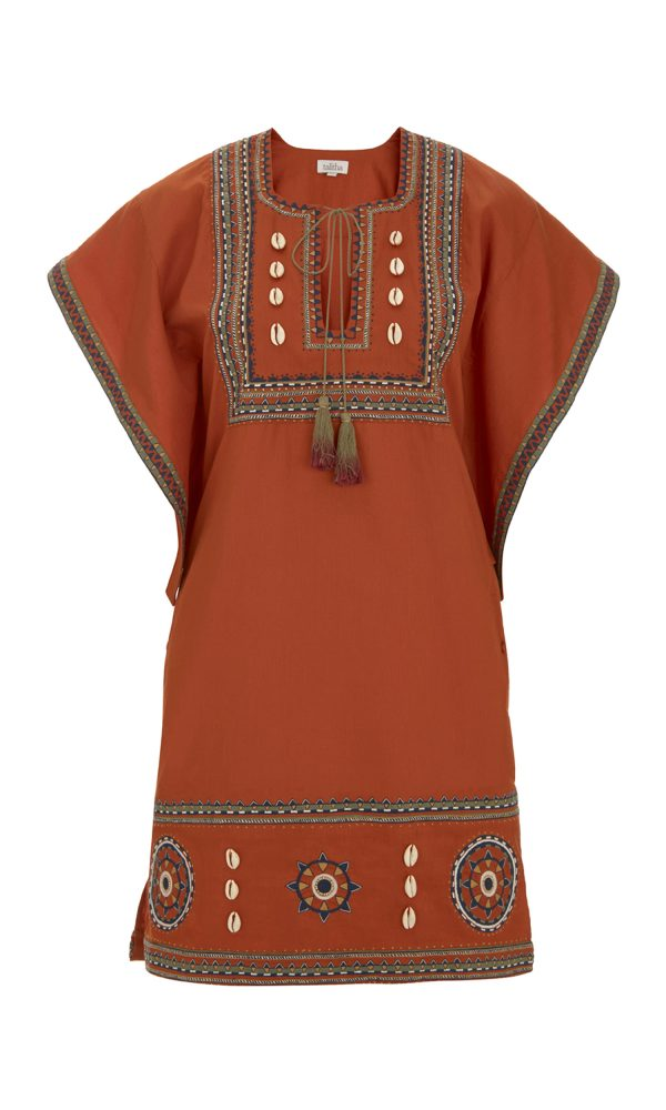 Talitha Pre-Fall 2017 Massai Embroidered Box Tunic in Orange dress boho luxury peasant festival