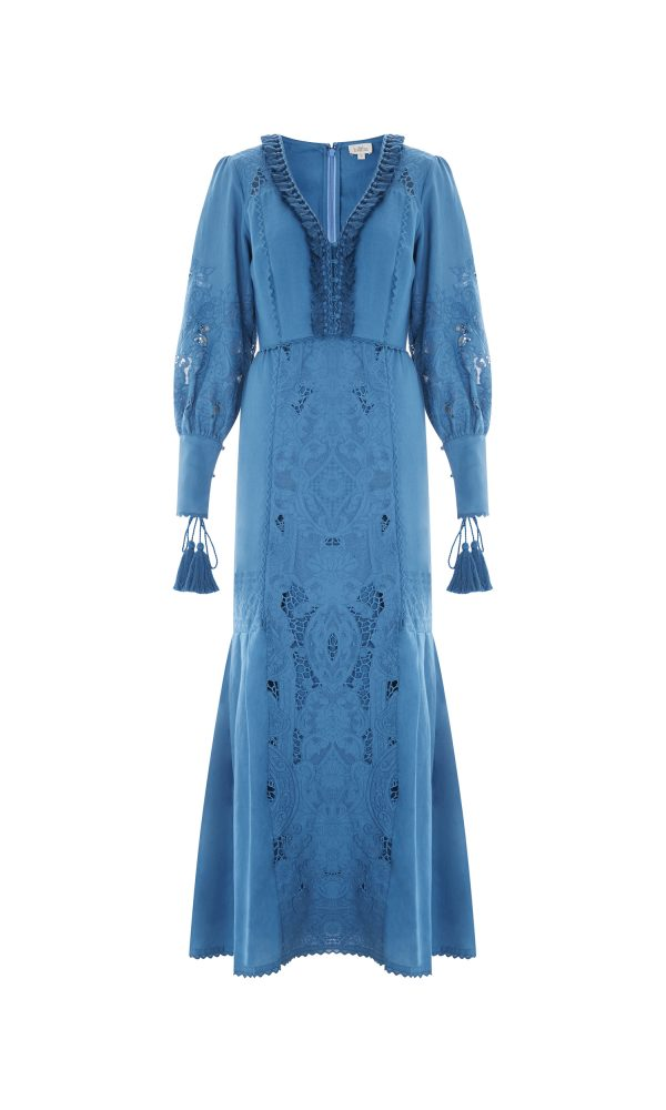 Talitha Spring Summer 2017 Cutwork Victoriana Panelled Dress blue tassels maxi full length boho luxury designer fashion