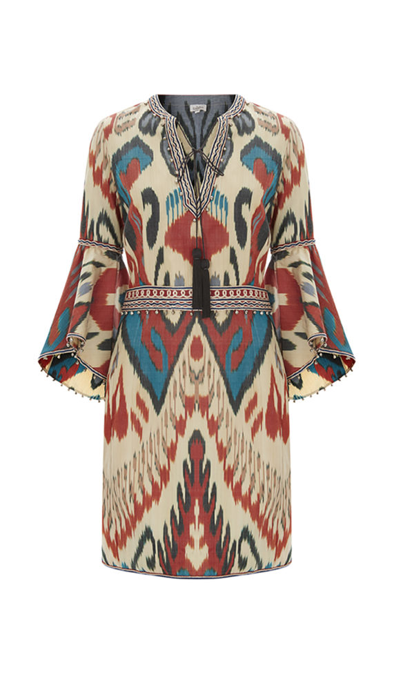 Talitha Spring Summer 2017 Ikat Frill Sleeve Dress
