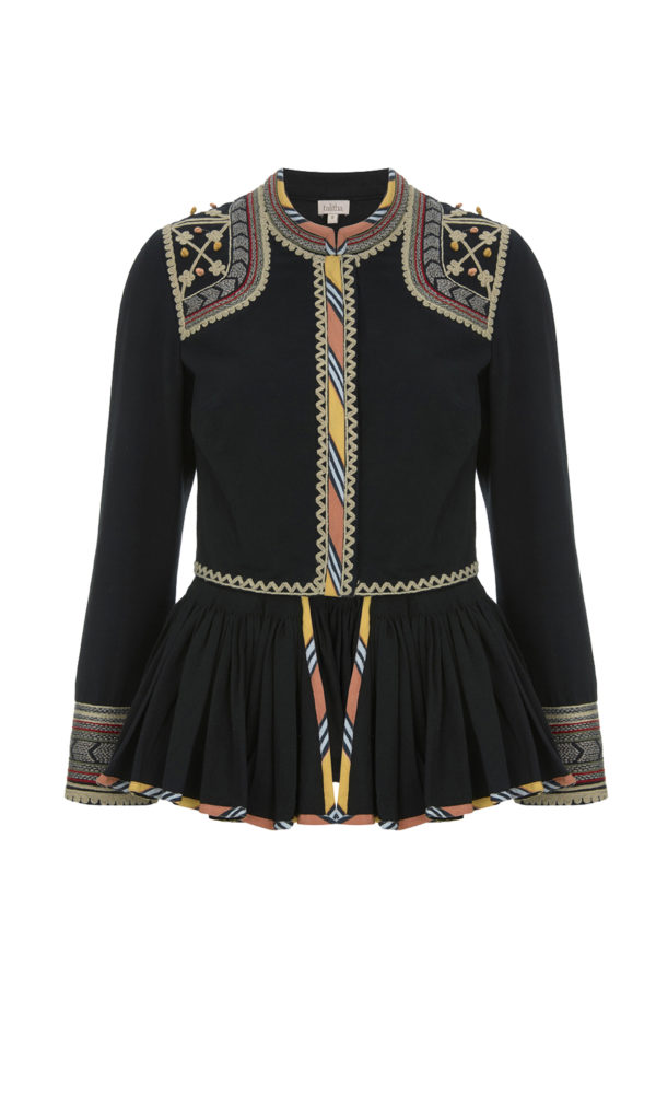 Talitha Pre Fall 2017 African Tribal Embroidered Peplum Jacket in Black