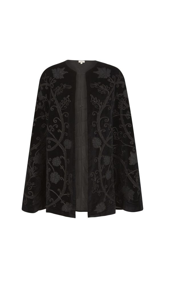 Talitha Autumn Winter 2016 cotton luxury boho velvet appliqué cape