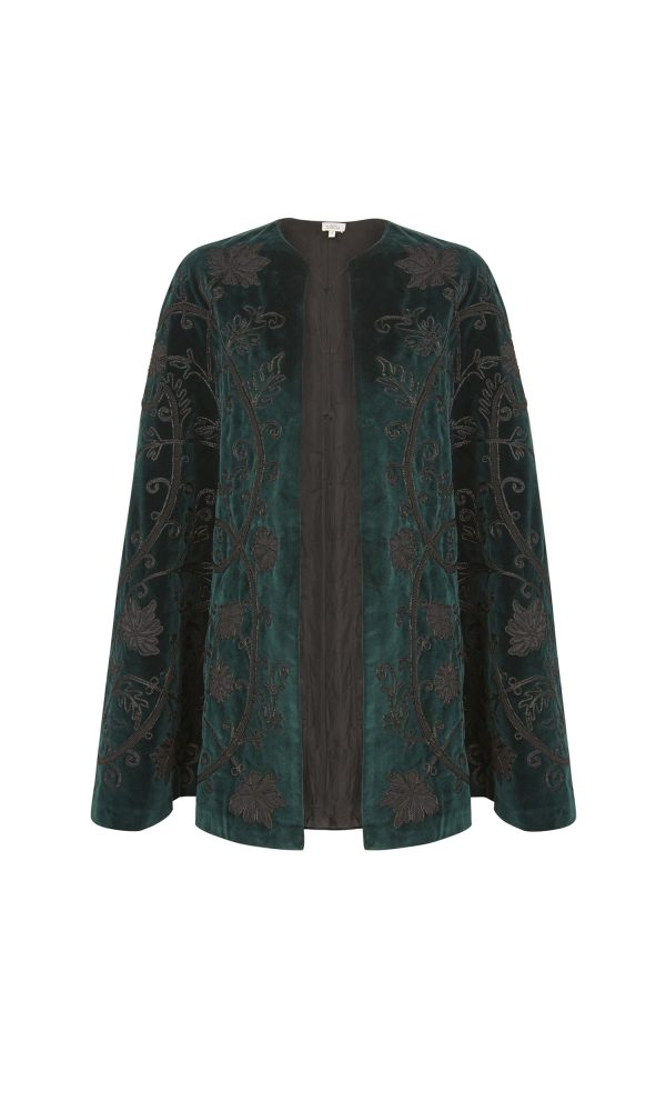Talitha Autumn Winter 2016 green cotton velvet luxury boho appliqué cape