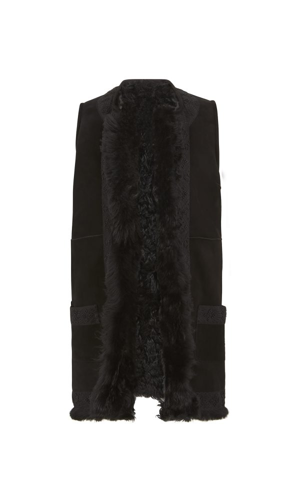 Talitha Autumn Winter 2016 luxury boho long shearling gilet