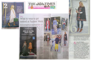 THE TIMES - WHAT TO WEAR TO GET NOTICED AT FASHION WEEK, February 2014