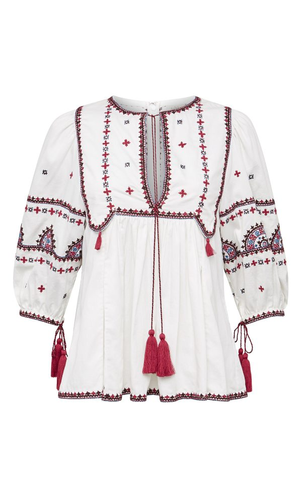 Talitha Resort 2017 luxury boho embroidered peasant top with tassels