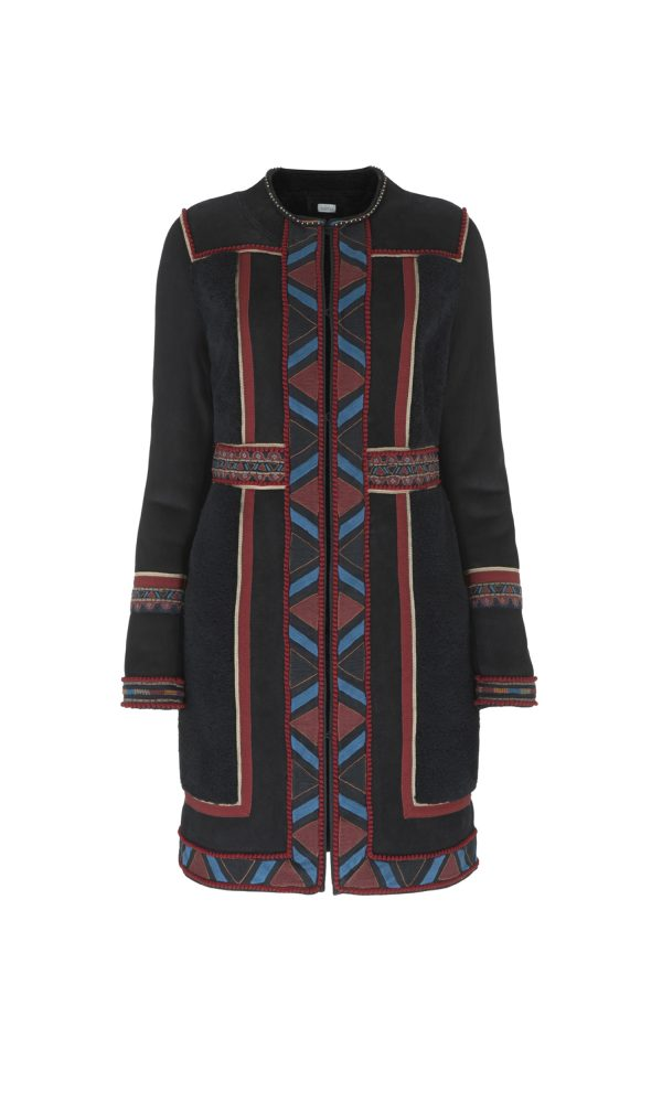 Tribal Embroidered Shearling Coat