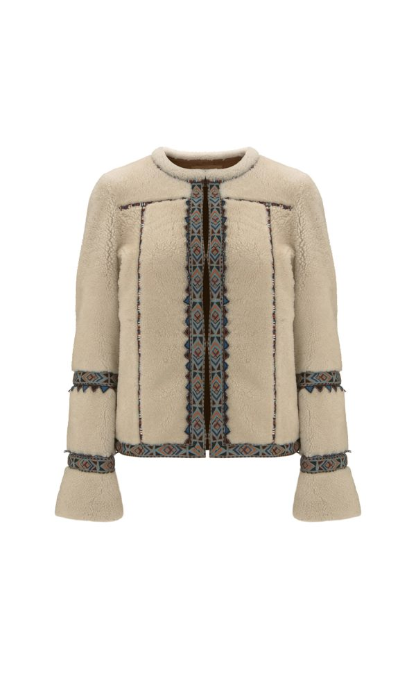 Tribal Embroidered Shearling Jacket