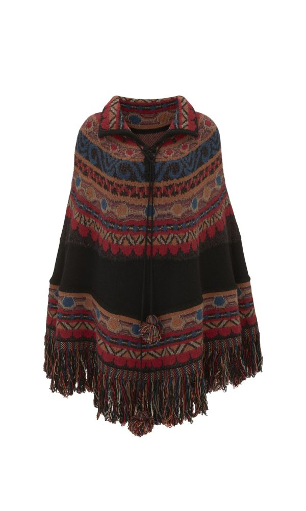 Talitha Autumn Winter 2017 Massai Intarsia Poncho boho luxury designer wool festival cool
