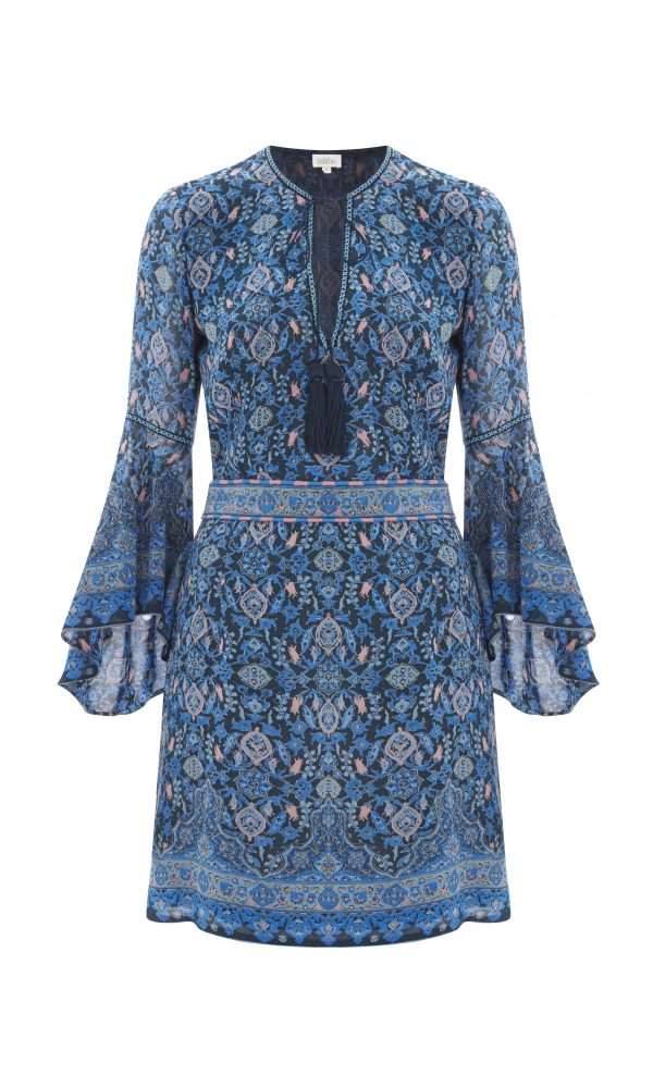 Maharaja Print Frill Sleeve Dress