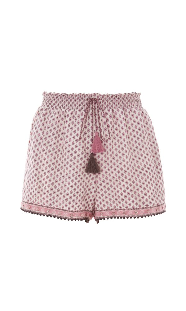 Trellis Print Ruched Shorts