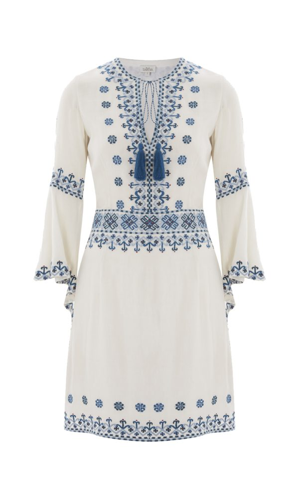 Anya Embroidered Frill Sleeve Dress