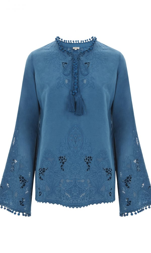 Talitha Spring Summer 2017 Cutwork Sana Tunic blue tassels boho luxury designer fashion