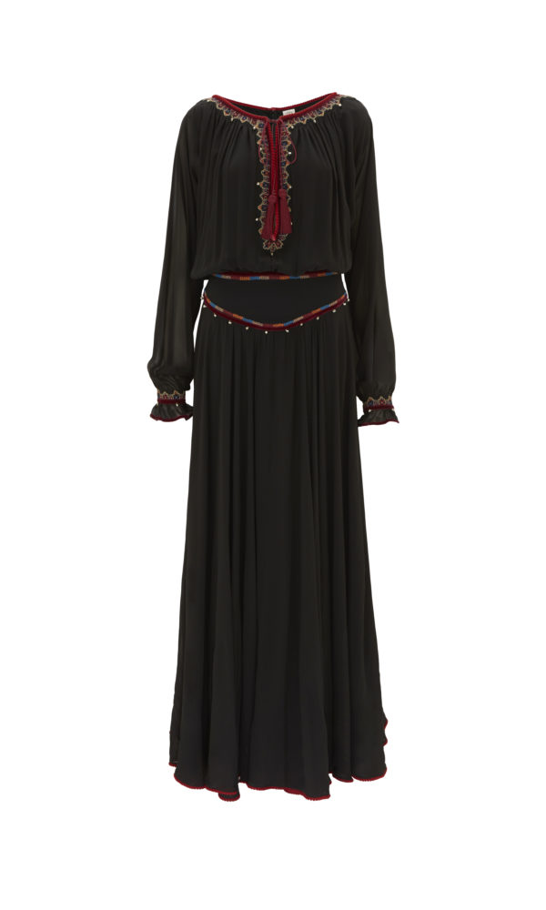 Tribal Embroidered Long Rosa Dress