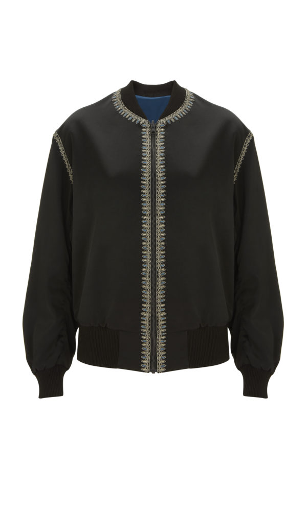 Cross Embroidered Reversible Bomber Jacket