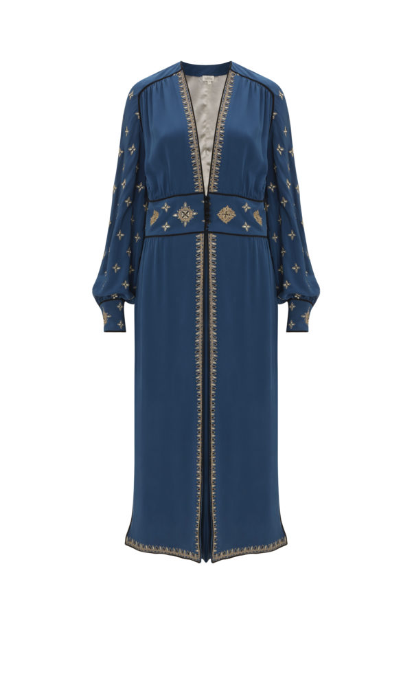 Cross Embroidered Tabia Robe in Blue from the Talitha Autumn-Winter 2017 Collection