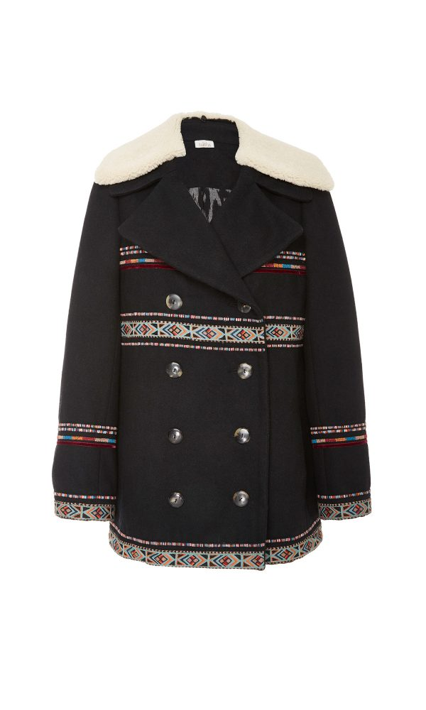 Tribal Embroidered Pea Coat