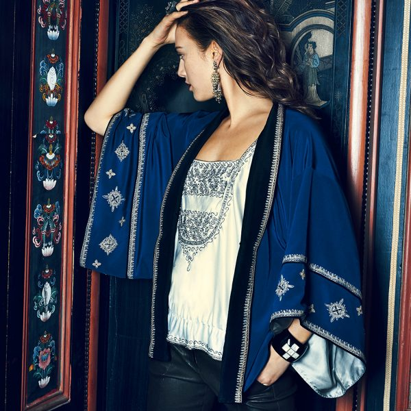 Meet the embroidered silk kimono, your new forever-piece
