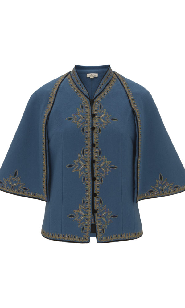 Cross Embroidered Cape Jacket