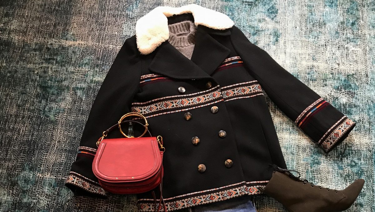 Styling Talitha's Embroidered Pea Coat this season