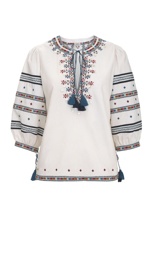 Zoya Embroidered Peasant Diala Top
