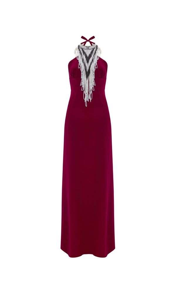 Beaded Halter Dress in Cranberry Red