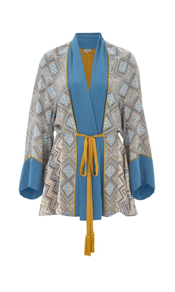Maghreb Print Short Belted Robe